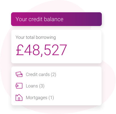 Credit summary feature showing a total credit balance of £48,527 split over 2 credit cards, 3 loans and 1 mortgage