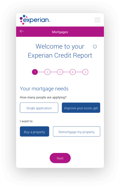 Phone screen with an Experian credit report and mortgage application