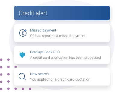 An example of Experian's credit alerts feature including alerts for missed payments, a credit card search being made and an application being processed by a lender