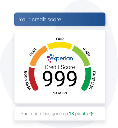 The Experian score dial showing a credit score of 999