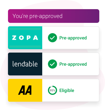 A credit results list showing Zopa and Lendable results as pre-approved offers, and AA Loans as 95% eligible