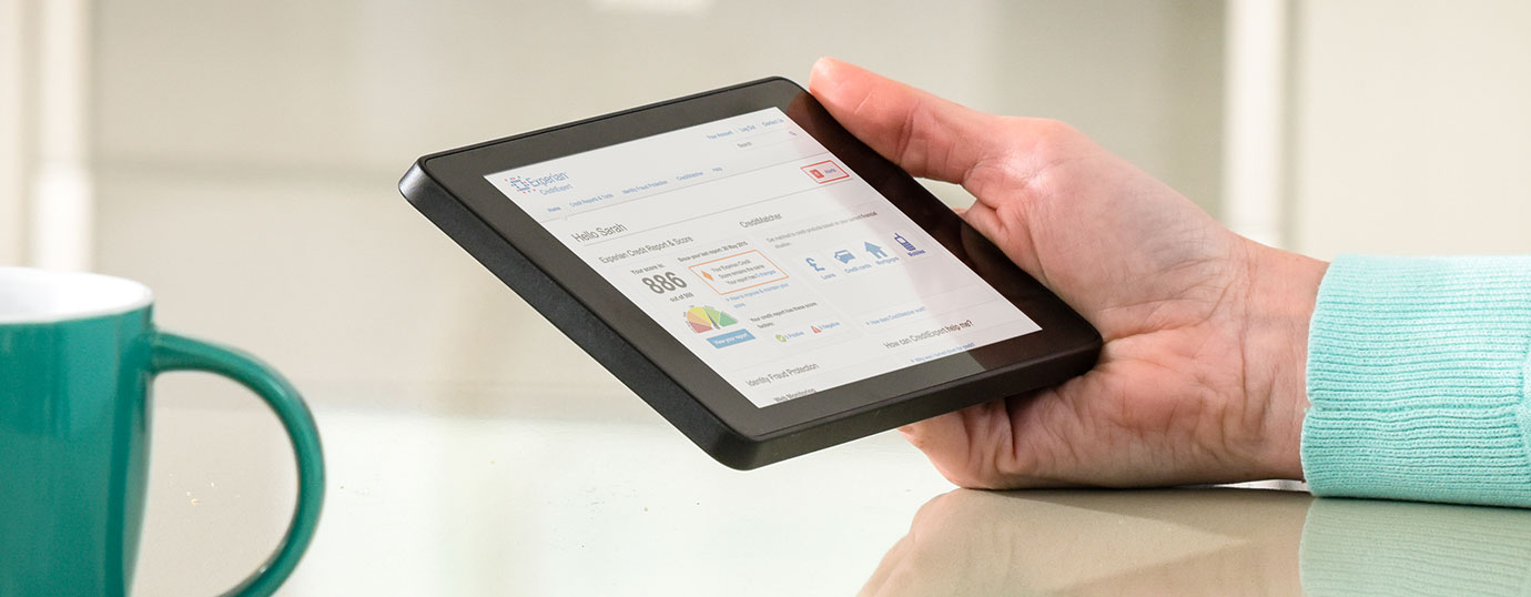 Tablet showing CreditExpert homepage