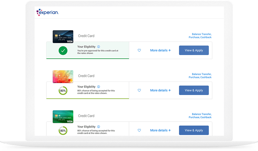 Image of Experian credit cards results page